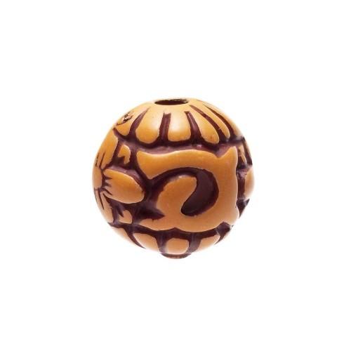 Perline In legno   PERLA INTAGLIATA 15 MM PACCO DA 1 PEZZO - Fc0301