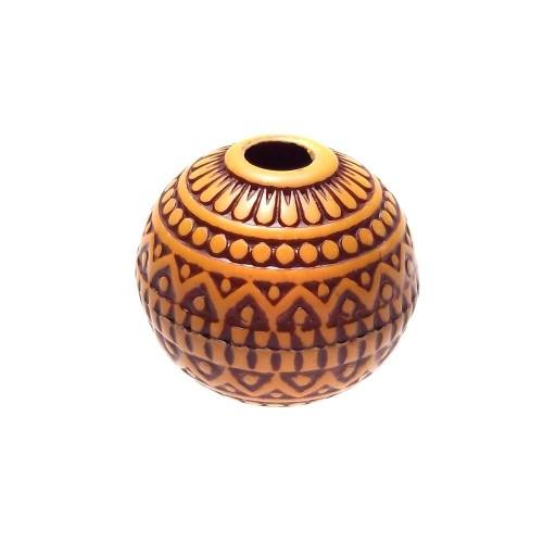 Perline In legno | PERLE TODE BOMBATE INTAGLIATE 17 MM 1 PEZZO - Fc0303