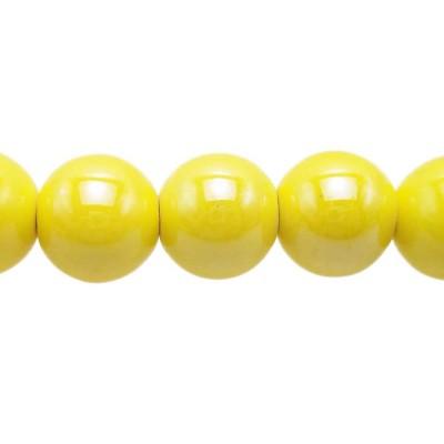 Perline in ceramica gialle 14 mm pacco 2 pz