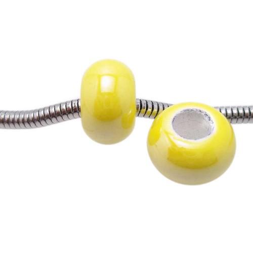 Perline Foro Largo Ceramica | Perline a foro largo giallo 14x9 mm foro 6 mm pacco 2 pezzi - PR033