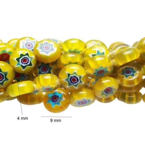 Perline In Vetro | PERLINE TONDE PIATTE 9X4 MM FILO 40 CM - fc0008