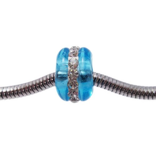 Perline Foro Largo Vetro | Perline a foro largo in vetro azzurro con strass 14x9 mm 1 pz - pfl03