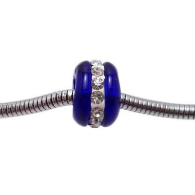 Perline a foro largo in vetro blu con strass 14x9 mm 1 pz