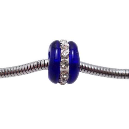 Perline Foro Largo Vetro | Perline a foro largo in vetro blu con strass 14x9 mm 1 pz - pfl05
