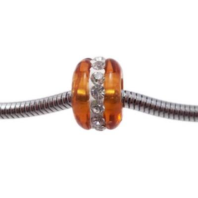 Perline a foro largo in vetro marrone con strass 14x9 mm pacco 1 pz
