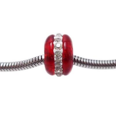 Perline a foro largo in vetro rosso con strass 14x9 mm 1 pz