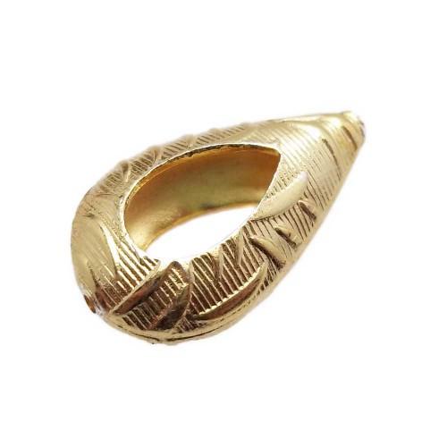 Orecchini gold ematite | Perline ottone oro goccia bombata 22x13 mm 1 pezzo - Pza0010