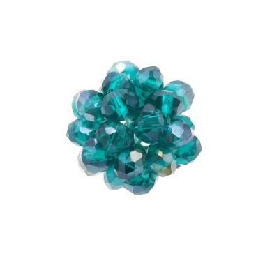 Perline tonde cristalli verde bottiglia A/B 15 mm pacco 1 pezzo