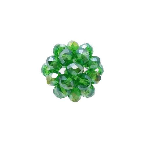 Cristalli Palline | Perline tonde cristalli verde trasparenti A/B 15 mm pacco 1 pezzo - per9